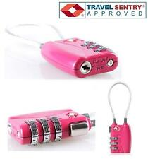 Jasit TSA Accepted 3-DIAL Resettable Cable Luggage Suitcase Travel Lock HOT PINK