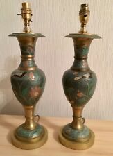 "Pair Of Painted Brass Lamps 17"" High"
