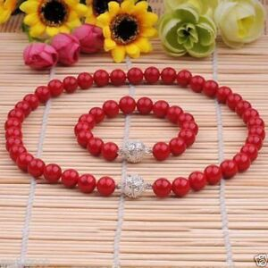 10mm Genuine Coral Red South Sea Shell Pearl Necklace Bracelet Jewelry Set