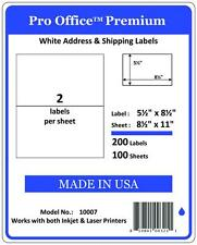 PO07 200 Premium Half Sheet Shipping Labels Self-Adhesive 8.5 X 5.5 PRO OFFICE