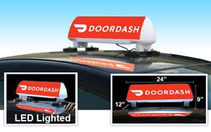 LED Lighted Car Top Sign - Red Background Door Dash - Food Delivery