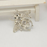 2Pcs Vintage Women Men's Brooch Pin Crystal Honey Bee Insect Corsage Jewelry