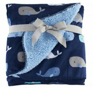 NWT Just Born Navy Blue Light Grey White Whale Velour Sherpa Baby Velboa Blanket