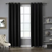 1 Panel Black Blackout Window Curtain Sheer Drape For Home Bedroom Living Room