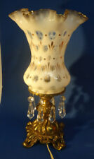 Fenton GLASS French Opalescent COIN DOT BRASS vase lamp Charleton Decoration