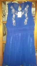LITTLE MISSTRESS PROM DRESS - PEACOCK BLUE WITH JEWELS - SIZE 22 - STUNNING NWTs