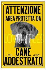ALANO AREA PROTETTA TARGA ATTENTI AL CANE CARTELLO PVC GIALLO