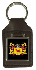 Hemmingway Family Crest Surname Coat Of Arms Brown Leather Keyring Engraved