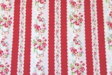 Cottage Shabby Chic Lecien Flower Sugar Floral Stripe Fabric 30364-30 Red BTY