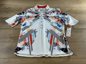 Lucky In Love Lil BD Half Sleeve Polo Shirt Multicolor Wns SZ XS (GT28-744803)