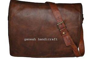 "15x11"" Vintage Leather Messenger Bag Cross Body Bag Handmade Satchel School Bag"