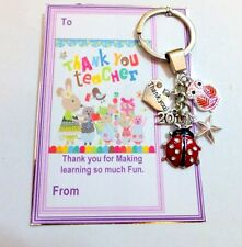 Thank you Gift for Teacher at End of School Term Key Ring on Gift card +Gift Bag