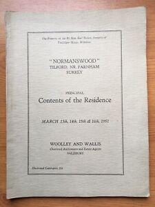"1951 Sale Catalogue for ""Normanswood"" Tilford, Nr Farnham, Surrey"