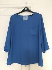 Women's Forever 21 Blue Lace Back Detail Shirt Blouse Size M