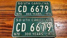 Pair South Carolina license plates 300 year Annivesary set FREE Shipping