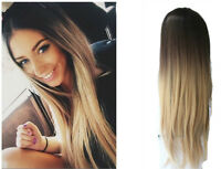 24 Inches Ombre No Front Parting Half Head Wig Long Straight Wavy 3/4 Weave Clip