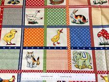Moda Fabric Kids Retro Toys Easter Baby Chick Bunny Rabbit DUCKS IN A ROW Panel