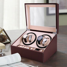 BROWN 4+6 Automatic Rotation Leather Wood Watch Winder Storage Display Case Box