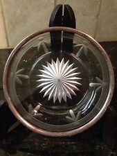"RARE Vintage Watson Sterling Silver Rim Cut Glass/Crystal Plate Dish 5.5"""