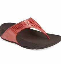 NEW FITFLOP WOMEN Sz5US NOVY STONES SHIMMER SANDALS LEATHER FLAME