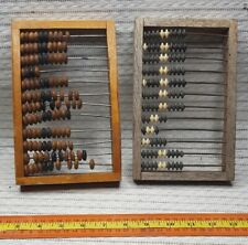Lot 2 USSR Counting Frame Wooden Abacus Beads Russian Shop Merchant 1970s EXC