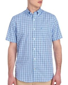 Nautica Mens Blue Gingham Check Cotton S/S Button-Front Shirt NWT $69 Size S