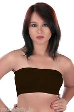 Coffee(Brown) Seamless Strapless Bandeau Top Tube Bra Lingerie.Size-Free