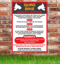 Quad Bike Safety Sign, Bouncy Castles, Parties, Fetes, Shows,