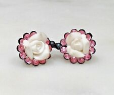 Romantic floral earrings (porcelain and Swarovski crystal)