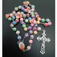 Multi Coloured Pearl Rosary Beads Christian Cross Catholic Rosary Necklace Beads