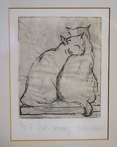 Artists Proof  Etching, 2 Cats grooming, F.R.Richardson 1997