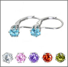 Sterling Silver CZ Leverback French Hook Earrings (Select your colors)