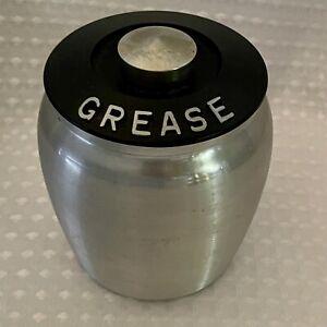 Vintage 1950's Kromex Aluminum GREASE Canister - Bakelite Lid with Strainer