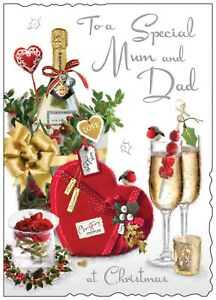 Jonny Javelin Special Mum And Dad Christmas Card Champagne Chocolates/XV003