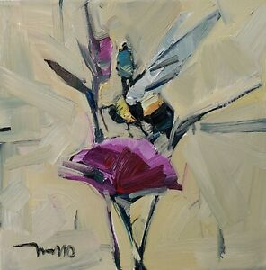 JOSE TRUJILLO Oil Painting IMPRESSIONISM SURREALIST BEE FLOWERS PERSON FIGURE