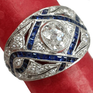 ART DECO PLATINUM RING WITH NATURAL OLD CUT DIAMONDS AND SAPPHIRES HANDMADE