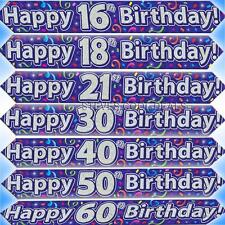 HAPPY BIRTHDAY BANNERS BLUE BOYS AGE HOLOGRAPHIC STREAMERS 9FT LONG PARTY BANNER