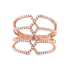 Diamond Cocktail Ring 14k Rose Gold Pave Crisscross Open Multi Row Band 0.35ct