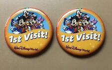 2 1st Visit Walt Disney World Button Mickey Donald Minnie Goofy Daisy Pluto Pins