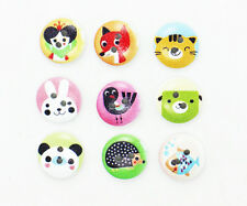Animal Wood Button Cartoon Children Baby Coat Fox Rabbit Panda Wooden 15mm 20pcs
