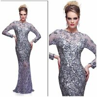 New. Trendy Long Sleeve Sequined Dress Primavera Couture 9880 silver $429