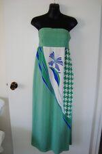 WISH Retro stripe Silk Strapless Boho Maxi Dress sz M 12 as New