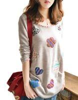 New Women Girl Fashion Korean Spring Top T-Shirt Long Sleeve Loose Casual Heart