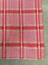 Christmas tablecloth red plaid 48 x 60 snowflake gold metallic fabric