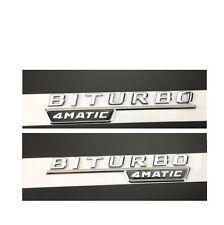 Flat Chrome BITURBO 4MATIC Letters Trunk Emblem Badge Sticker for Mercedes Benz