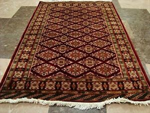 Red Jaldar Rare Ivory Silk Touch Flowers Hand Knotted Wool Silk Carpet (5 x 3)'