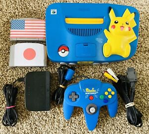 *AUTHENTIC* Limited Blue Pikachu Nintendo 64 N64 *REGION FREE* Pokémon Console