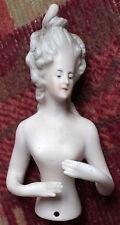 ancienne marquise en biscuit 8,5cm -demi poupée pour lampe abat-jour (half-doll)