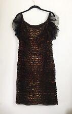 Tadashi Shoji Dress Mesh Leopard Size 12 Euc