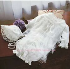 New Christening Formal Birthday Party Baby Romper Lace Gown Dress Bonnet Set